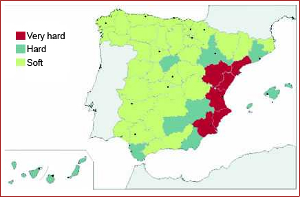 Map of water hardness in Spain
